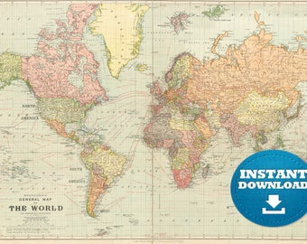 Digital Old World Map Printable Download. Vintage World Map. PRINTABLE Map.  Large World Map. High Resolution World Map. Poster.USA.Australia