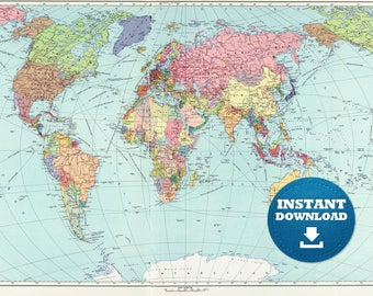 High Resolution Map Etsy - High resolution world map for printing