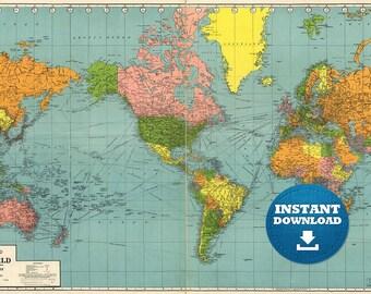 Digital Modern Political World Map Printable Download. Large | Etsy