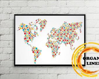 Map reproductions on linen digital world maps by easteuromaps colorful dot world map on linen organic linen from lithuania belarus world map wall art poster on linen map on canvaspush pin map gumiabroncs Choice Image