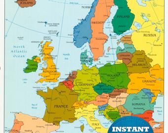 Digital Modern Map of Europe Printable Download. Large ...