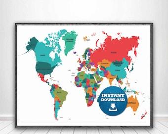 Digital modern political world map printable download large digital modern political world map printable download large world map digital printable maphigh resolution world mapanadastralia gumiabroncs Choice Image