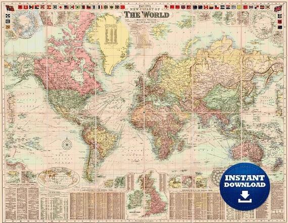 Digital Colorful Detailed Vintage Printable World Map Download. Vintage World Map. Antique World Map. Pastel Colors Historical World Map