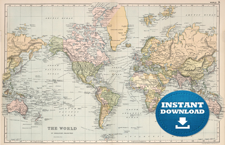 World Map Large Image.Digital Old World Map Printable Download Vintage World Map Etsy