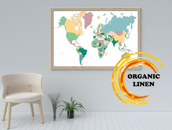 Colorful Travel World Map on Linen. Organic Linen from Lithuania. World map Wall art. Poster on linen. Map on Canvas.Push Pin Map