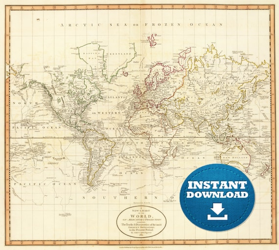 Digital Vintage Simple World Map Printable Download. Vintage World Map. Antique World Map. Poster World Map