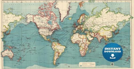 Digital Blue Vintage Atlas World Map Printable Download. Atlas World Map. Antique World Map. Poster File, Connections World Map