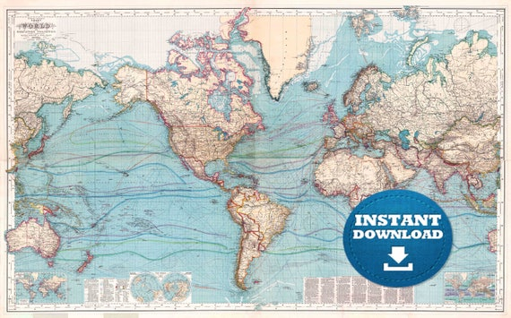 Digital Vintage Blue Oceans World Map Printable Download. Vintage World Map. Poster Map. Antique World Map