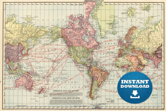 Digital Vintage Continents Connections World Map Printable Download. Vintage World Map. World Map Poster, Digital Image Map
