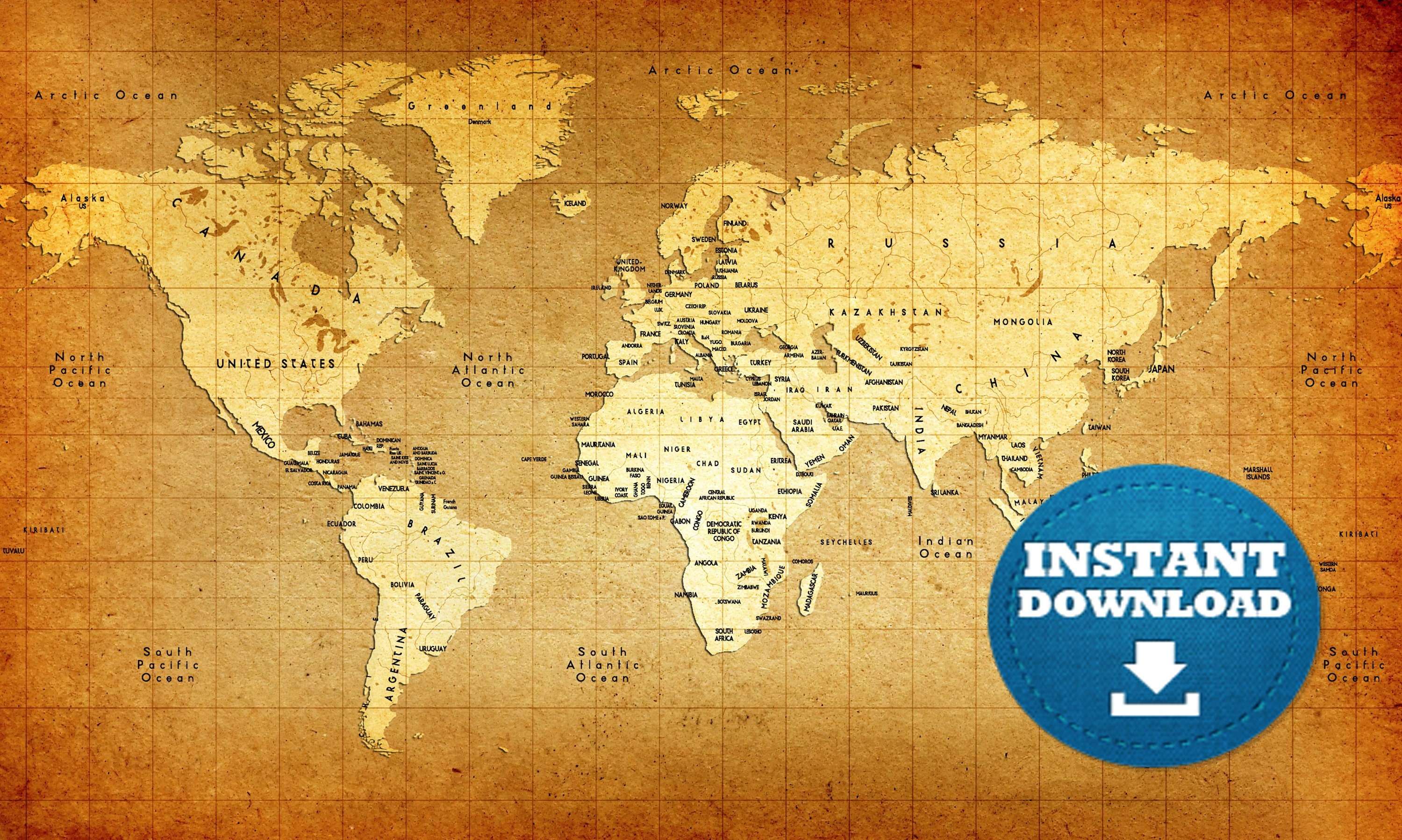 World Map Old Style.Digital Modern Old Map Printable Download Vintage Style World Map