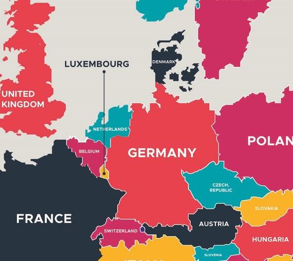 Digital Modern Map of Europe Printable Download. Large Europe Map Digital.  PRINTABLE Map. High Resolution Map. Germany, France, Italy, Spain