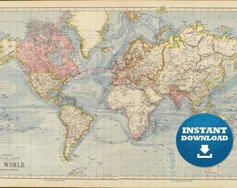 Digital old world map printable download vintage world map digital old world map printable download vintage world map printable map large world gumiabroncs Images
