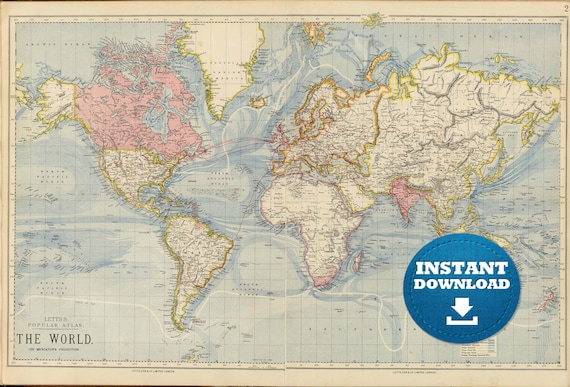 Digital old world map printable download vintage world map gumiabroncs Image collections