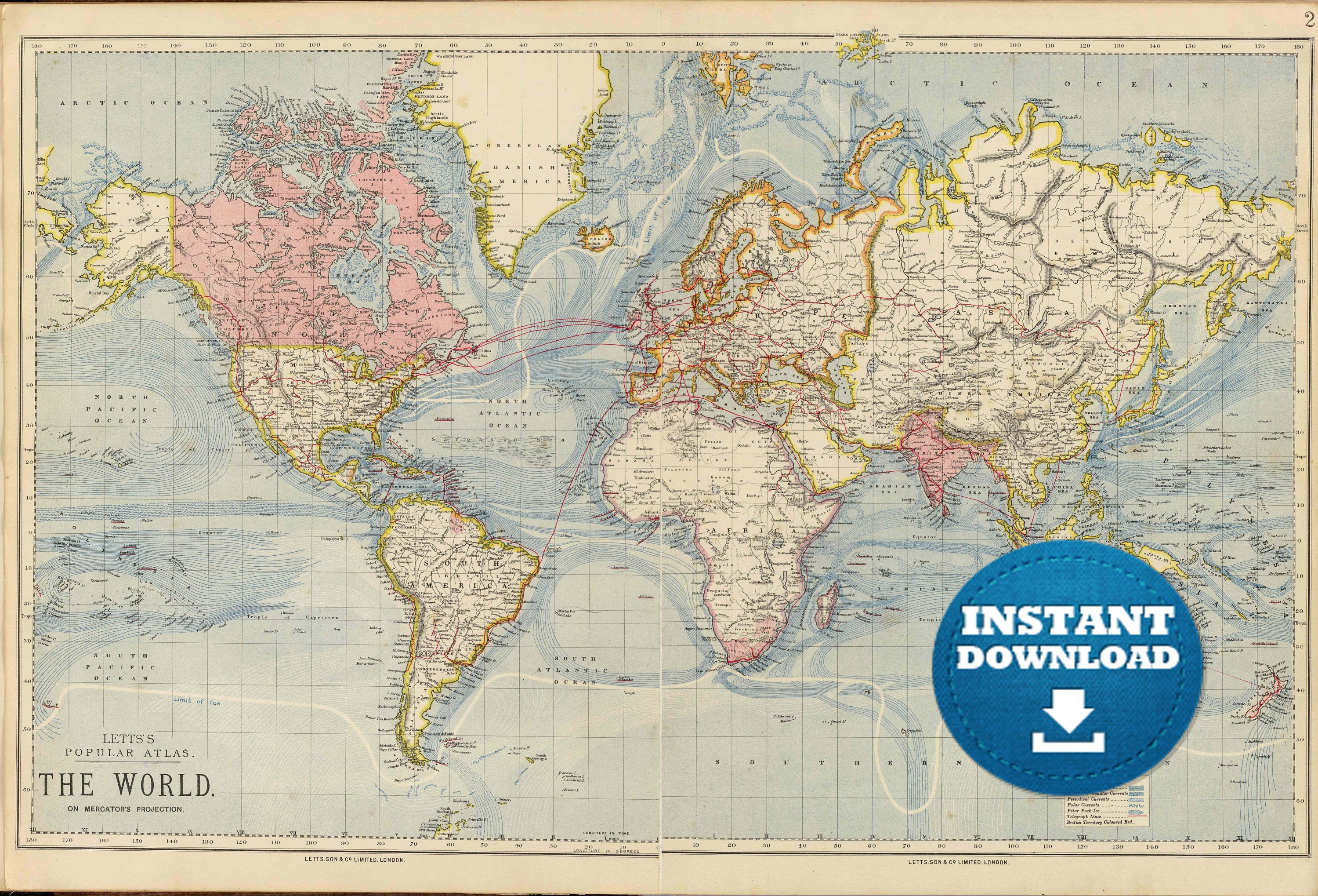 Digital Old World Map Printable Download Vintage World Map