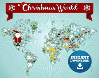 digital modern merry christmas world map hight printable download large world map printable