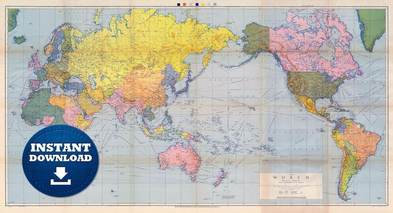 Digital Old Political World Map 1944 Instant Download. Large | Etsy
