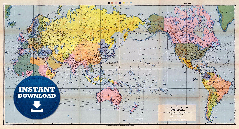Digital Old Political World Map 1944 - Instant Download. Large World ...
