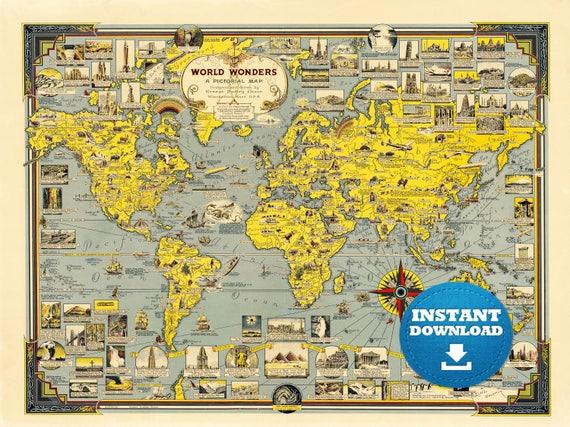Digital Vintage World Map Printable Download. World Wonders World Map. Yellow World Map. Antique World Map. Poster Map
