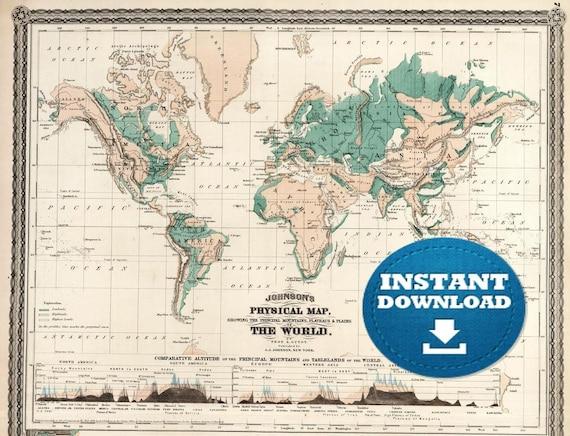 Digital Vintage Printable World Map Download. Green Digital Vintage World Map. Antique World Map
