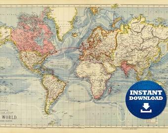 Digital Pastel Colors World Map, Printable Download, Vintage World Map, Light Blue Oceans World Map, Atlas World Map, Antique World Map
