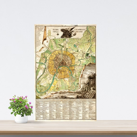 Moscow 1789 City Map Poster on Paper. Different Sizes. Russia Historical City Map. Vintage City Map. Antique Map. Moscow Vintage Map