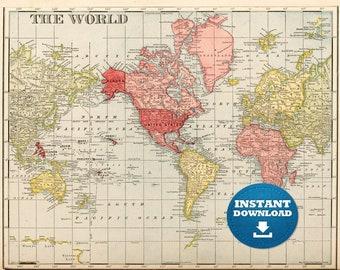 Digital Red-Yellow Vintage World Map Printable Download. Vintage World Map. Antique World Map. Poster Map.