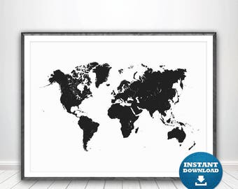 World Map Print, World Map Poster, Black and White Map, Black World Map, Black and White Wall Art, Printable World Map, Large World Map. USA