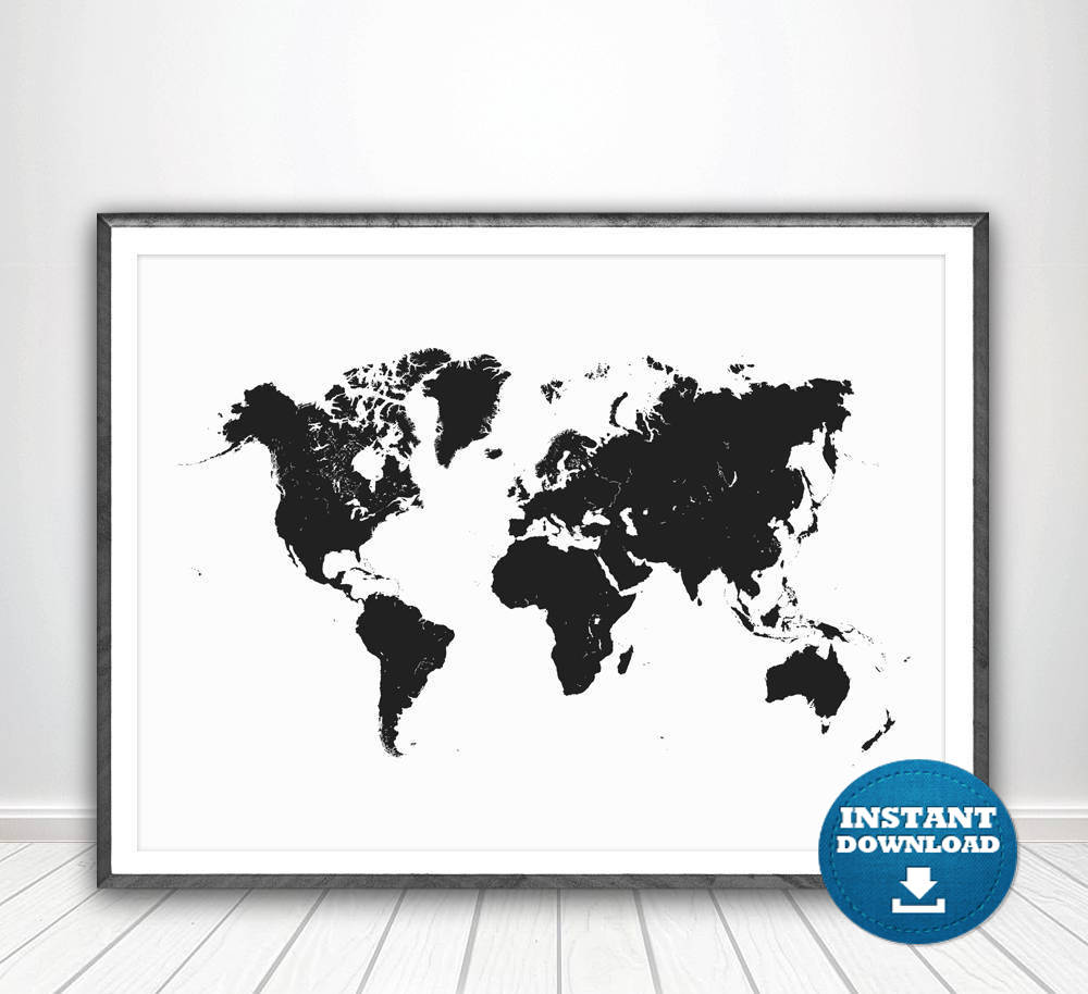 World map print world map poster black and white map black etsy zoom gumiabroncs Choice Image