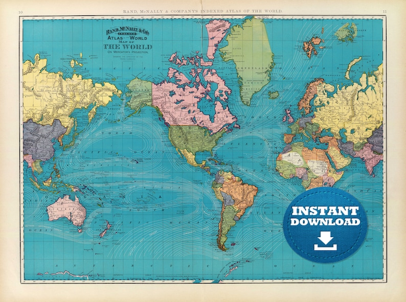 Digital Old World Map Printable Download Vintage World Map Etsy