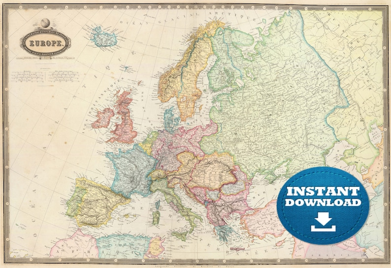High Resolution Map Of Europe.Digital Old Map Of Europe Printable Download Large Europe Map Etsy