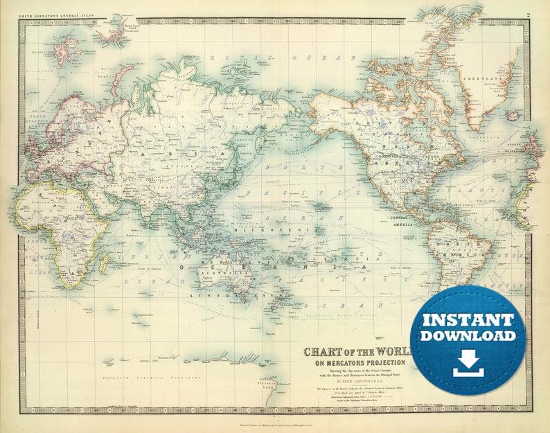 Digital Old World Map Printable Download. Vintage World Map. PRINTABLE on