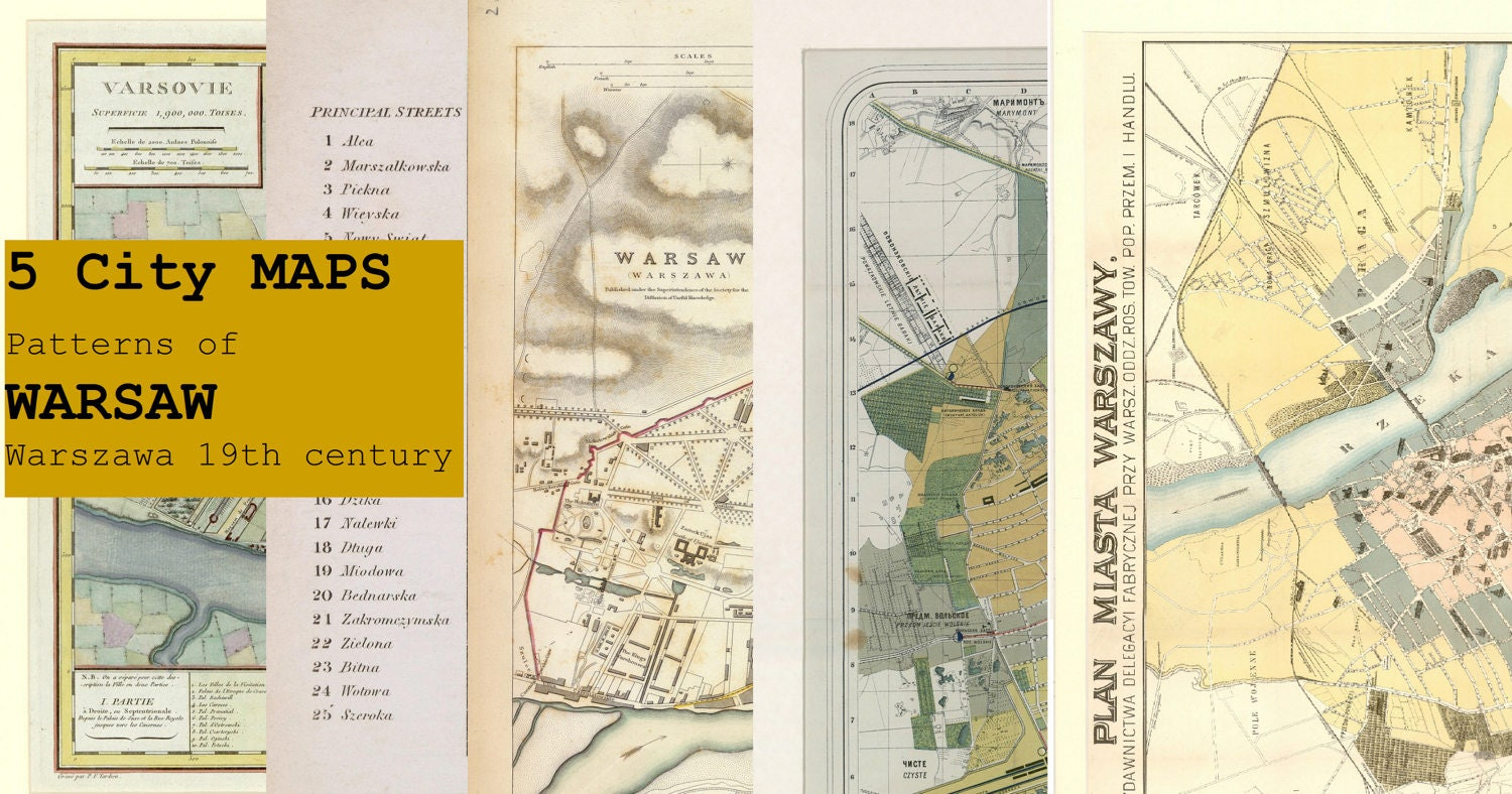 Digital 5 City MAPS Patterns of Warsaw Warszawa 19th century - Download   PRINTABLE Map High Resolution Map  High Quality Maps  Large Maps