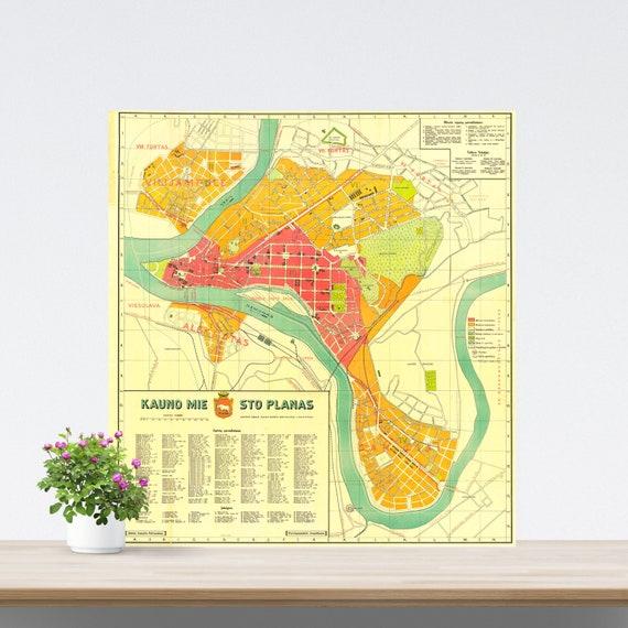 Kaunas/ Kowno/ Kauen City Map Poster on Paper 1929. Lithuania Historical City Map. Vintage City Map. Antique Map. Kaunas, Kowno Map