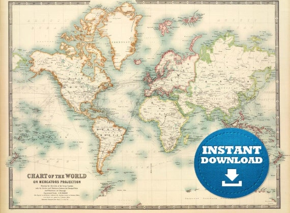 Digital Vintage World Map Printable Download. Antique World Map File. World Map Poster. Turquoise Colors World Map.