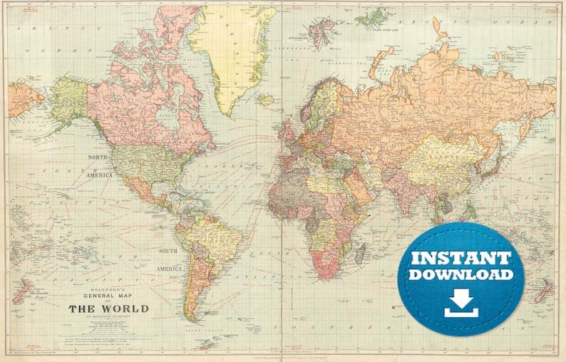 Digital Old World Map Printable Download. Vintage World Map. | Etsy