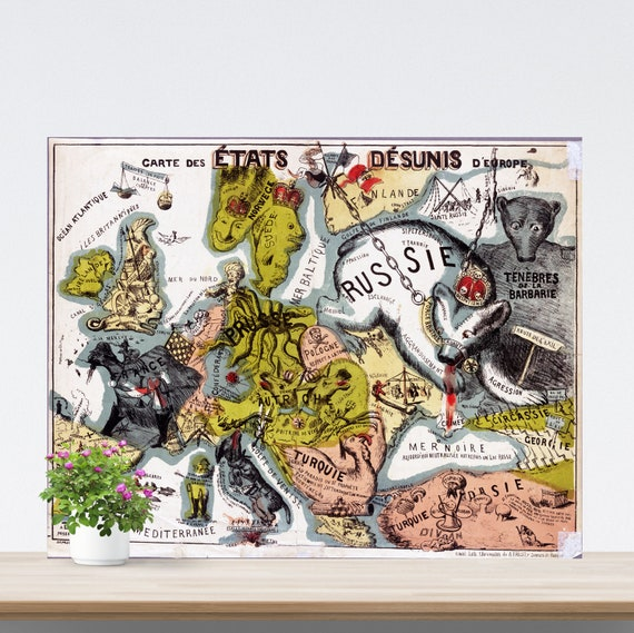 Vintage Europe Map on Paper, Antique French Map of Europe, Caricature, Comic Art, Retro Map, Historical Map Poster