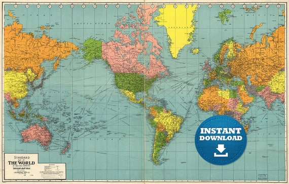 Digital Vintage Standard Map of the World. Printable Download. Blue and Orange World Map and Vintage Flair. America-Centric World Map Poster