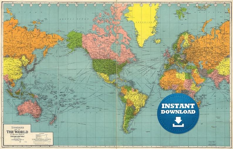 Do Druku Pobieranie Mapy Cyfrowe Starego świata Mapa świata Etsy