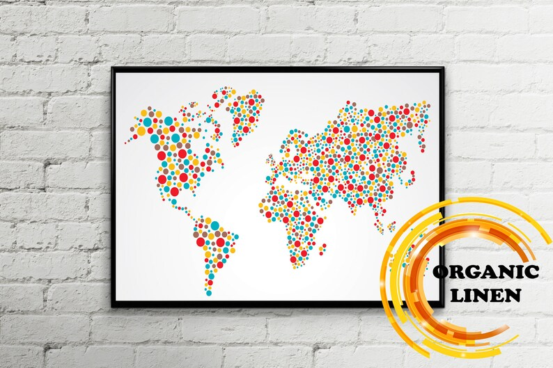 Colorful dot world map on linen  Organic linen from Lithuania, Belarus   World map Wall art  Poster on linen  Map on Canvas Push Pin Map