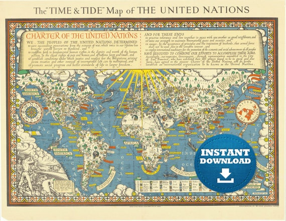 Digital UN World Map, World Map Printable, Instant Download, Antique World Map, Pictorial Historical United Nations World Map