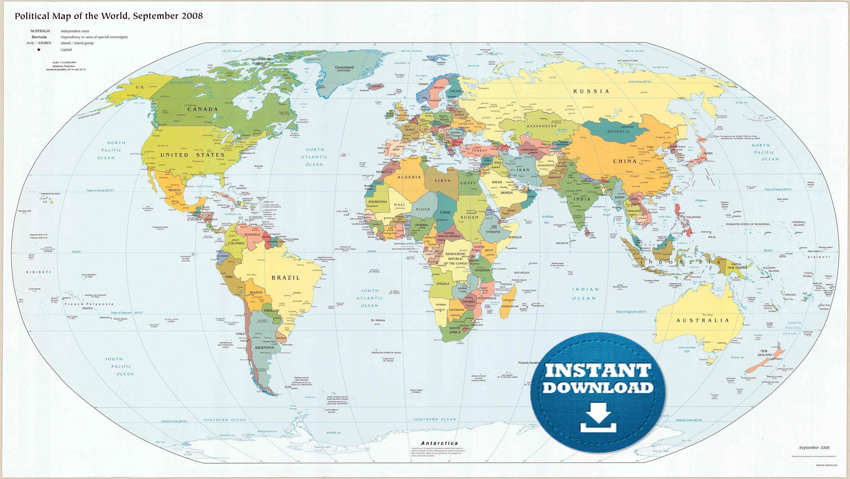 Digital Modern Political World Map Printable Download. Large World