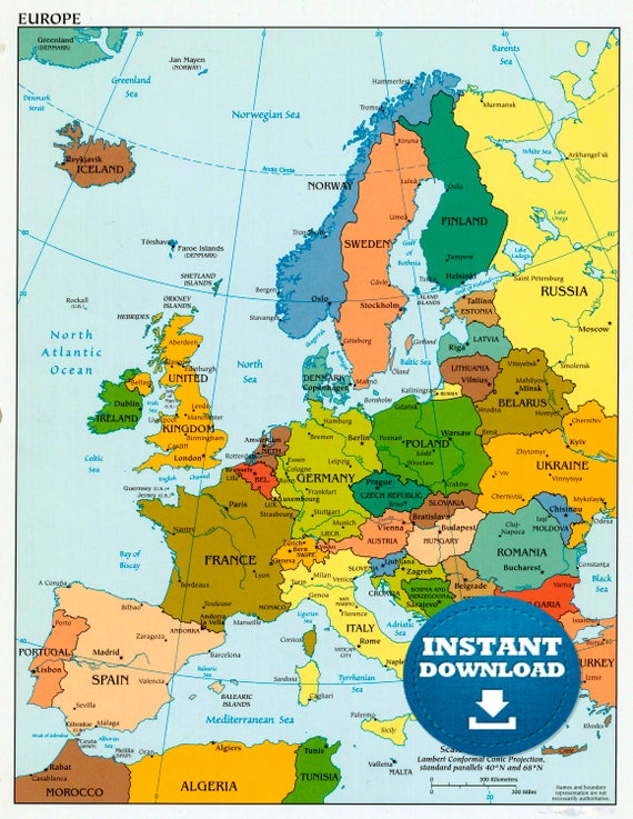 Digital Political Colorful Map of Europe, Printable Download, Mapping Countries of Europe, Lively Political Map, European Map