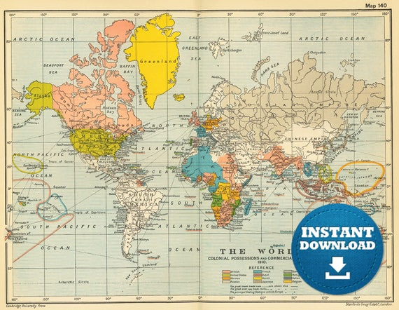 Digital Atlas World Map Printable Download. Vintage Colorful World Map. Poster Map. Antique World Map