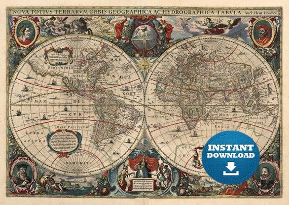 Digital Vintage Antique World Map Printable Download. Vintage World Map. Printable Map Image. Antique Map Mermaid Illustration