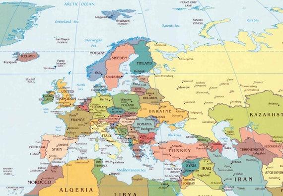 Digital Modern Political World Map Printable Download. Large World Map  Digital. PRINTABLE Map. High Resolution World Map. USA.Canada.Germany