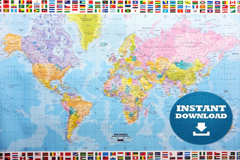 photo about World Map Printable called Electronic Innovative World-wide Map Printable Down load. Innovative Global Map. PRINTABLE Map. Huge Globe Map. Large Option Planet Map. Poster.Australia