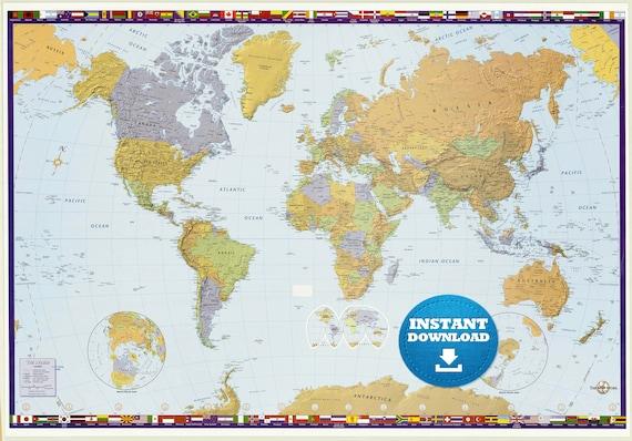 Digital Modern Political World Map Printable Download Large Etsy