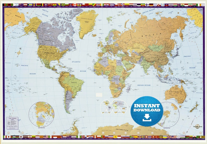 Digital Modern Political World Map Printable Download. Large | Etsy