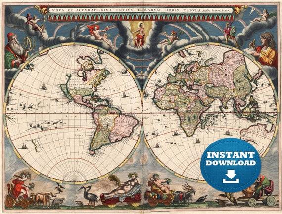 Digital Vintage World Map Printable Download. Vintage World Map. World Map Digital. Antique Map Illustration.Poster. Antique World Map