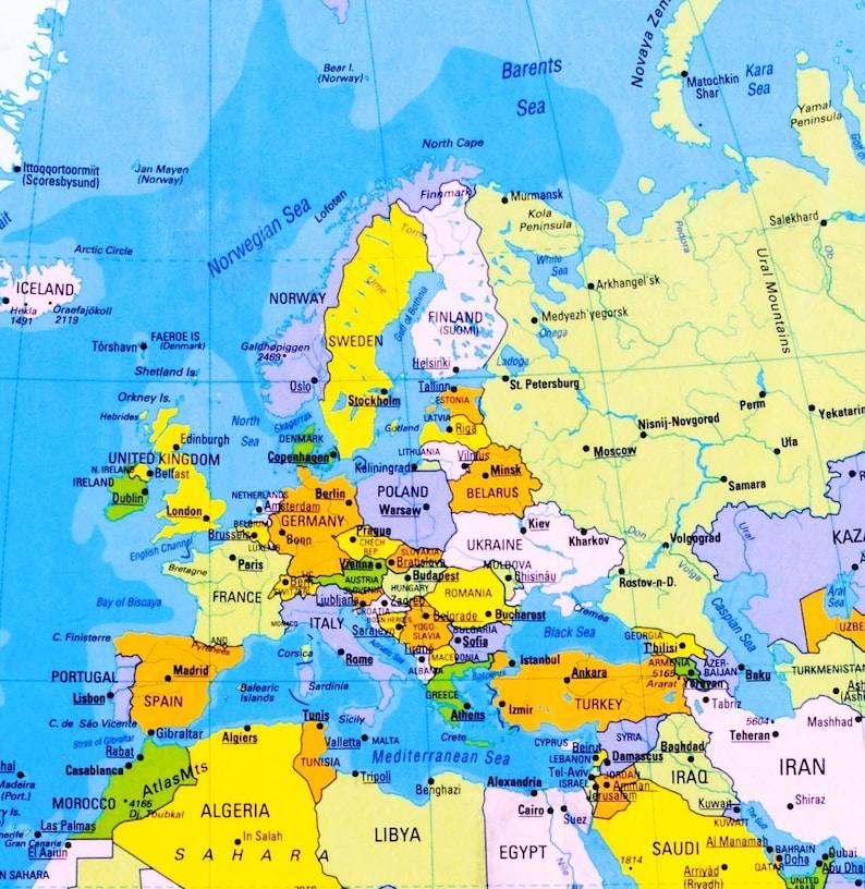 Digital Modern World Map Printable Download Weltkarte Etsy